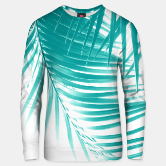 Palm Leaves Soft Turquoise Summer Vibes #1 #tropical #decor #art Unisex sweatshirt obraz miniatury