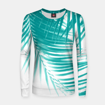 Palm Leaves Soft Turquoise Summer Vibes #1 #tropical #decor #art Frauen sweatshirt obraz miniatury