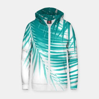 Palm Leaves Soft Turquoise Summer Vibes #1 #tropical #decor #art Reißverschluss kapuzenpullover obraz miniatury