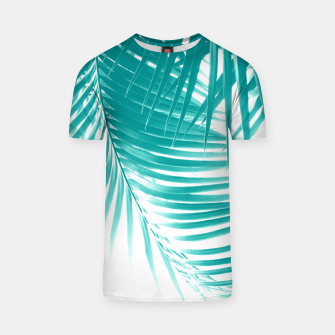 Palm Leaves Soft Turquoise Summer Vibes #1 #tropical #decor #art T-Shirt obraz miniatury