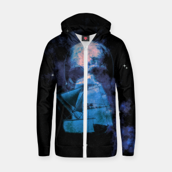 Thumbnail image of Cosmic Pirate Ship Skull Illustration Reißverschluss kapuzenpullover, Live Heroes