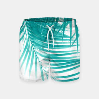 Palm Leaves Soft Turquoise Summer Vibes #1 #tropical #decor #art Badeshorts obraz miniatury