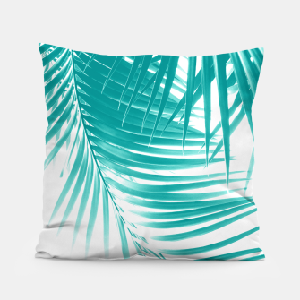 Palm Leaves Soft Turquoise Summer Vibes #1 #tropical #decor #art Kissen obraz miniatury