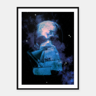 Miniaturka Cosmic Pirate Ship Skull Illustration Plakat mit rahmen, Live Heroes