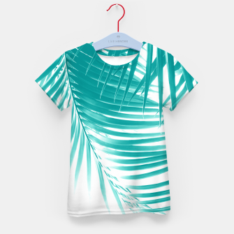 Palm Leaves Soft Turquoise Summer Vibes #1 #tropical #decor #art T-Shirt für kinder obraz miniatury