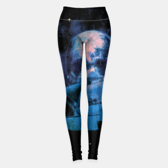 Thumbnail image of Cosmic Pirate Ship Skull Illustration Leggings, Live Heroes