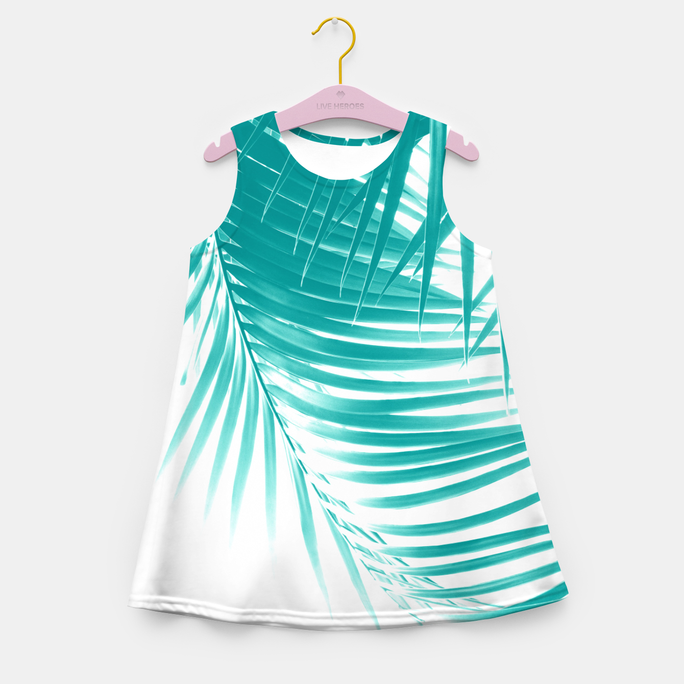 Zdjęcie Palm Leaves Soft Turquoise Summer Vibes #1 #tropical #decor #art Mädchen-Sommerkleid - Live Heroes