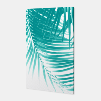Palm Leaves Soft Turquoise Summer Vibes #1 #tropical #decor #art Canvas obraz miniatury