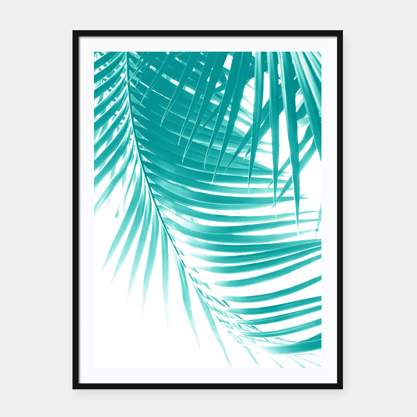Zdjęcie Palm Leaves Soft Turquoise Summer Vibes #1 #tropical #decor #art Plakat mit rahmen - Live Heroes