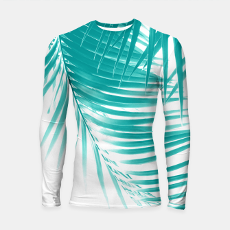 Palm Leaves Soft Turquoise Summer Vibes #1 #tropical #decor #art Longsleeve rashguard obraz miniatury