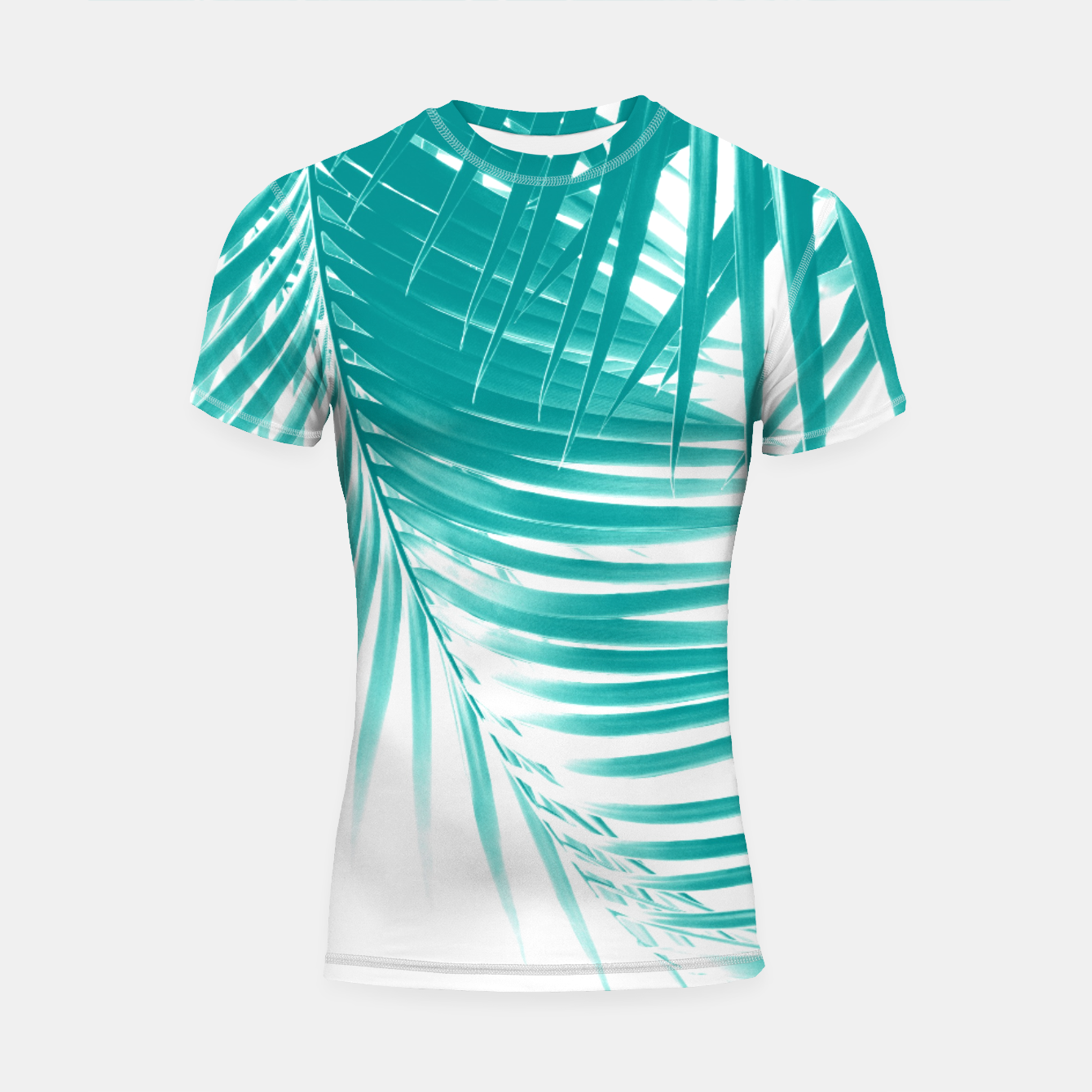 Zdjęcie Palm Leaves Soft Turquoise Summer Vibes #1 #tropical #decor #art Shortsleeve rashguard - Live Heroes
