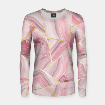 Blush Agate Gold Geometric Summer Glam #1 #geo #decor #art Frauen sweatshirt obraz miniatury