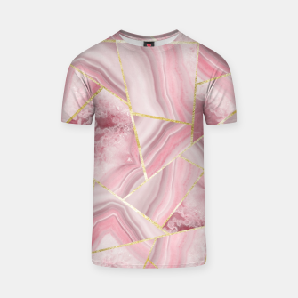 Blush Agate Gold Geometric Summer Glam #1 #geo #decor #art T-Shirt obraz miniatury