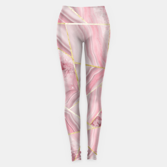 Blush Agate Gold Geometric Summer Glam #1 #geo #decor #art Leggings obraz miniatury