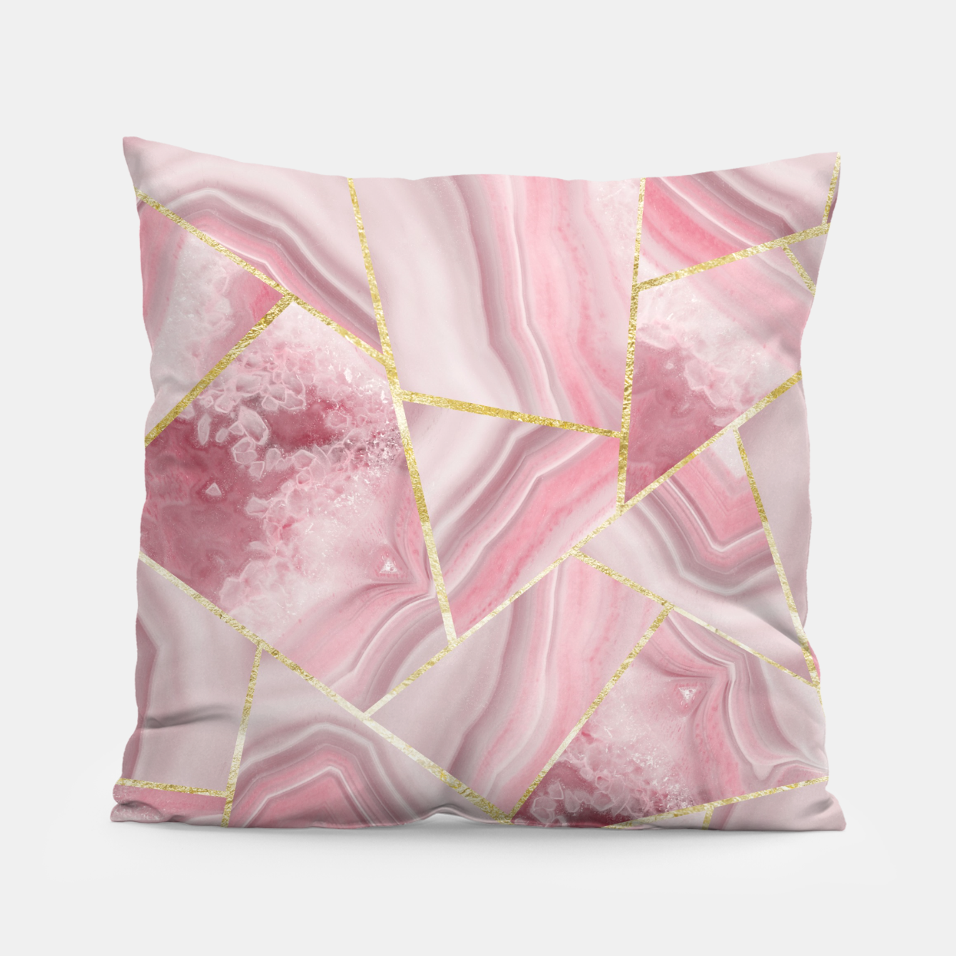 Zdjęcie Blush Agate Gold Geometric Summer Glam #1 #geo #decor #art Kissen - Live Heroes