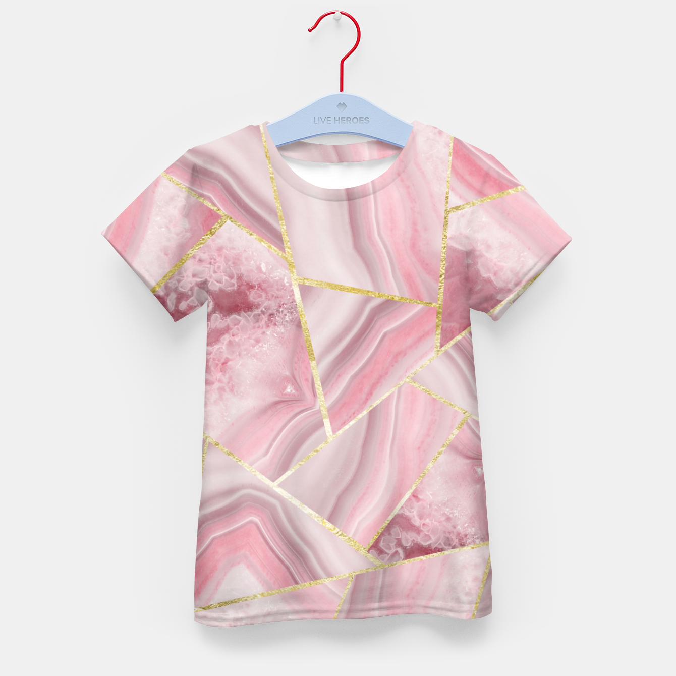 Zdjęcie Blush Agate Gold Geometric Summer Glam #1 #geo #decor #art T-Shirt für kinder - Live Heroes