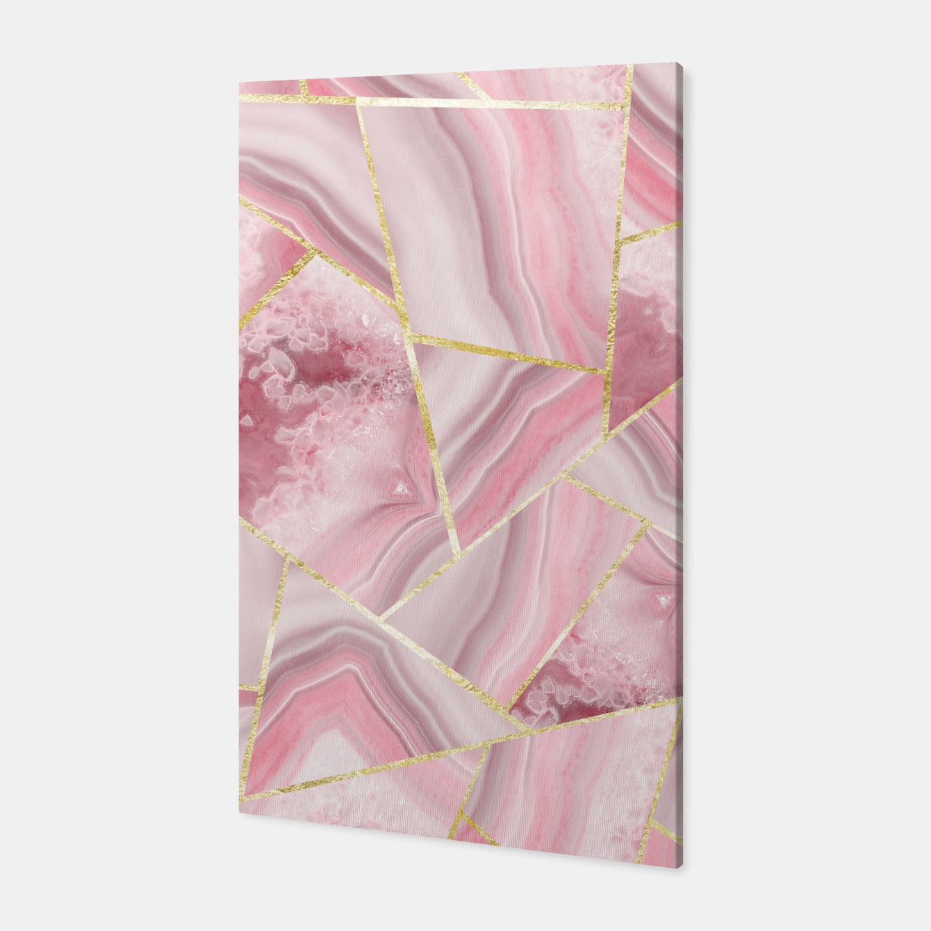 Zdjęcie Blush Agate Gold Geometric Summer Glam #1 #geo #decor #art Canvas - Live Heroes