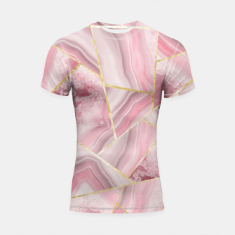 Blush Agate Gold Geometric Summer Glam #1 #geo #decor #art Shortsleeve rashguard obraz miniatury