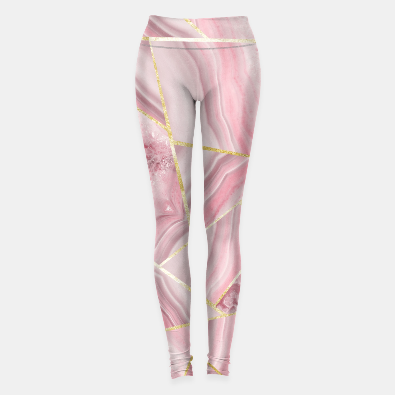 Zdjęcie Blush Agate Gold Geometric Summer Glam #1 #geo #decor #art Leggings - Live Heroes