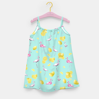 Flamingo Lemon Twist Summer Pattern #1 (Kids Collection) #decor #art  Mädchenkleid obraz miniatury