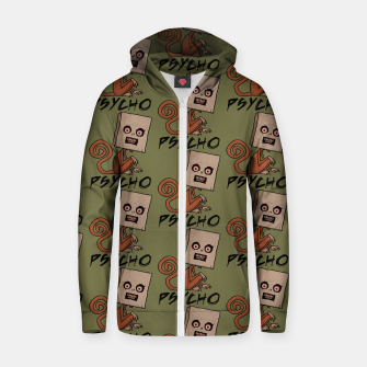 Thumbnail image of Psycho Sack Monkey with Text Zip up hoodie, Live Heroes