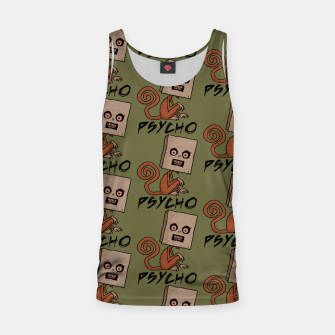 Thumbnail image of Psycho Sack Monkey with Text Tank Top, Live Heroes