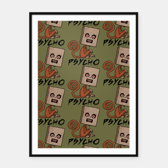 Thumbnail image of Psycho Sack Monkey with Text Framed poster, Live Heroes