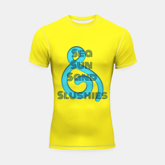 Thumbnail image of Sea Sun Sand & Slushies (Yellow) Shortsleeve rashguard, Live Heroes