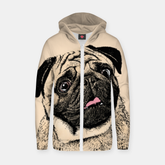 Thumbnail image of Pug Zip up hoodie, Live Heroes