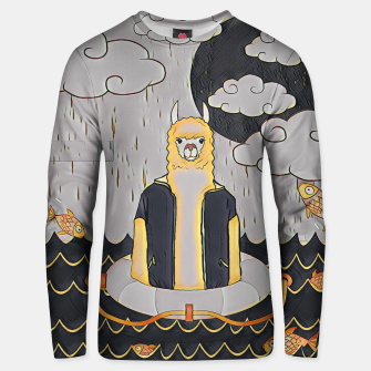 Lama in the ocean Unisex sweater thumbnail image