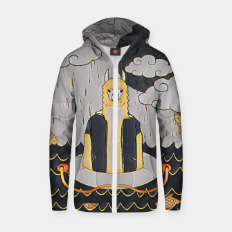 Thumbnail image of Lama in the ocean Zip up hoodie, Live Heroes