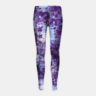 Purple Grunge Fractal Girl's leggings Bild der Miniatur