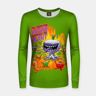 Thumbnail image of Terrifying Vegan Flesh Eating Plant Frauen sweatshirt, Live Heroes