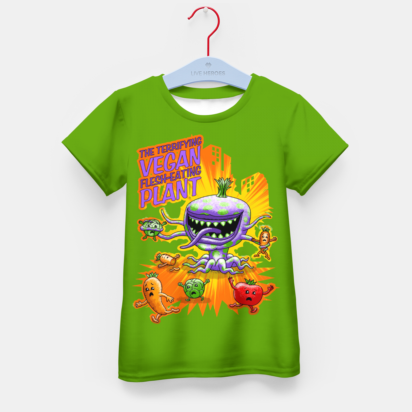 Zdjęcie Terrifying Vegan Flesh Eating Plant T-Shirt für kinder - Live Heroes