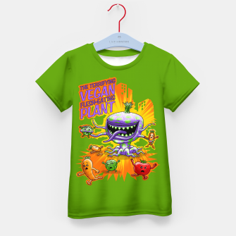 Miniaturka Terrifying Vegan Flesh Eating Plant T-Shirt für kinder, Live Heroes