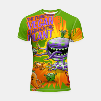 Thumbnail image of Terrifying Vegan Flesh Eating Plant Shortsleeve rashguard, Live Heroes