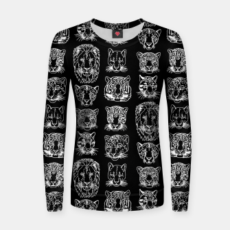 Thumbnail image of Kickass Kitties - white on black Women sweater, Live Heroes