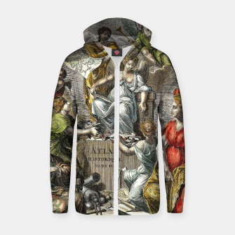 Thumbnail image of Old Cartographic Map Line Art Zip up hoodie, Live Heroes
