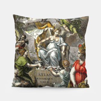 Thumbnail image of Old Cartographic Map Line Art Pillow, Live Heroes