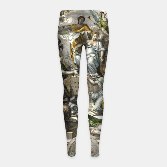 Thumbnail image of Old Cartographic Map Line Art Girl's leggings, Live Heroes