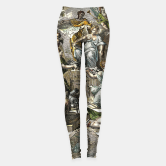 Thumbnail image of Old Cartographic Map Line Art Leggings, Live Heroes