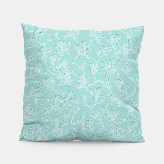 Thumbnail image of Misty White Frozen Magnolias  Pillow, Live Heroes