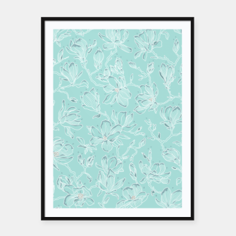 Thumbnail image of Misty White Frozen Magnolias  Framed poster, Live Heroes
