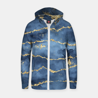 Thumbnail image of Gold Veined Watercolor Design Reißverschluss kapuzenpullover, Live Heroes