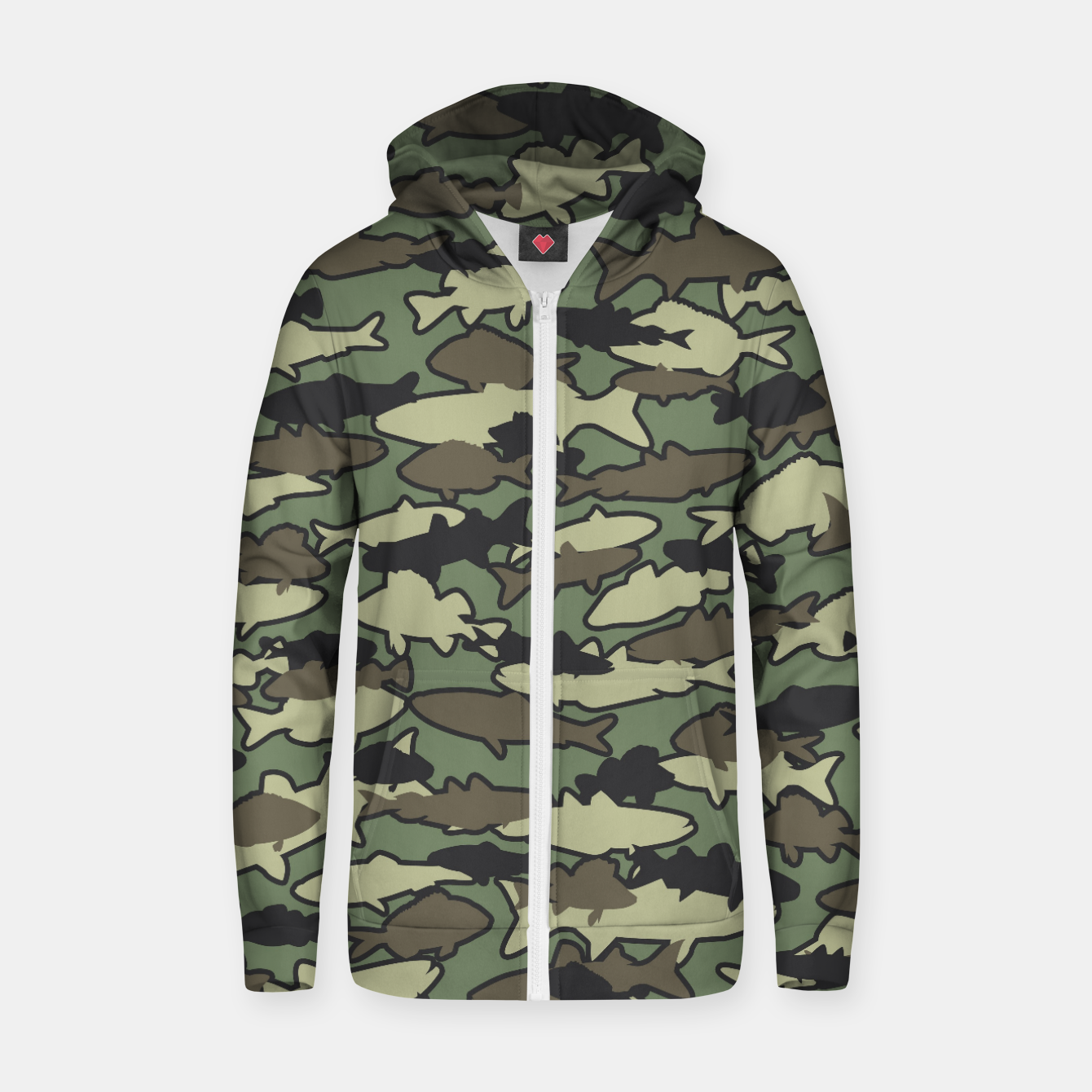 Image of Fish Camo JUNGLE Zip up hoodie - Live Heroes
