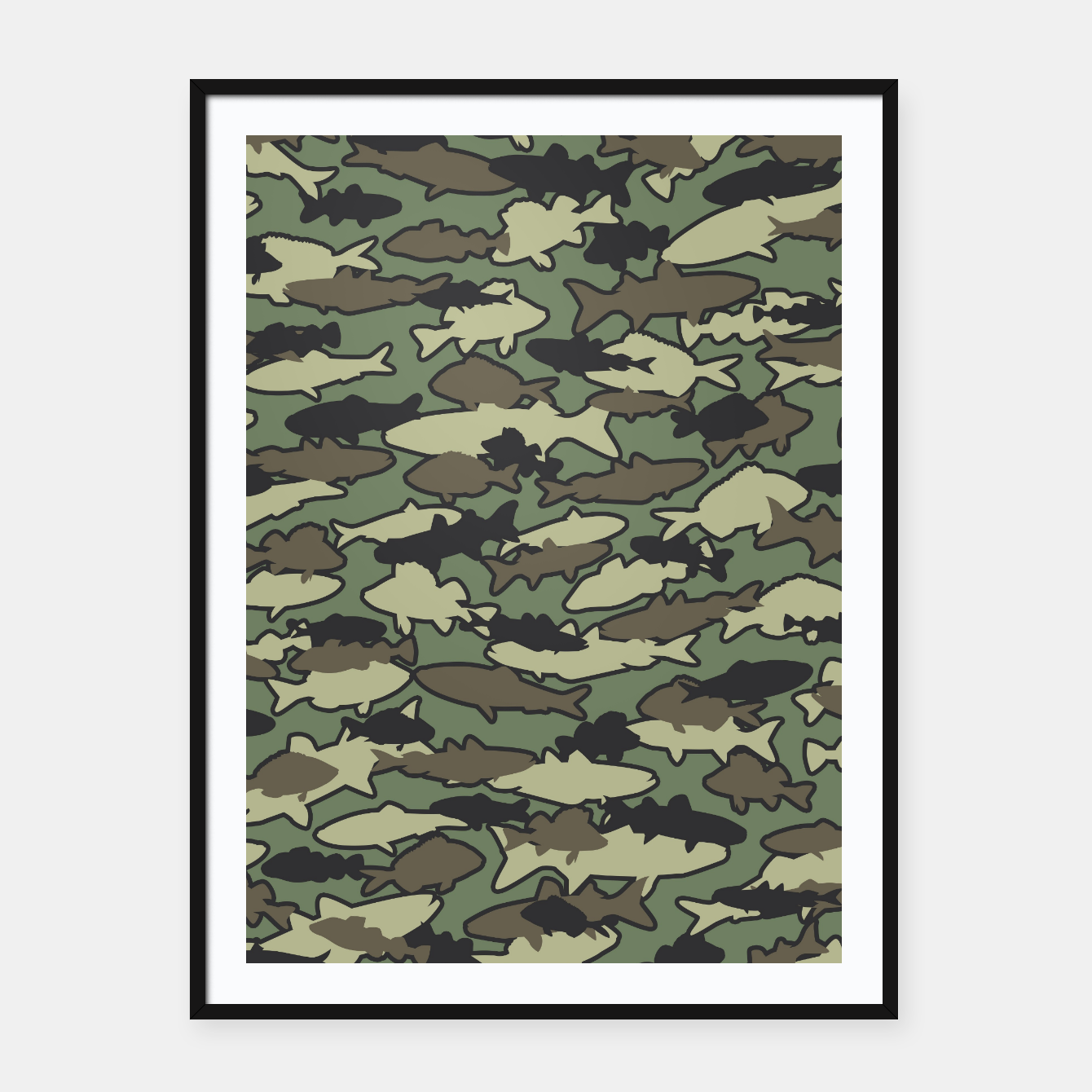 Image of Fish Camo JUNGLE Framed poster - Live Heroes