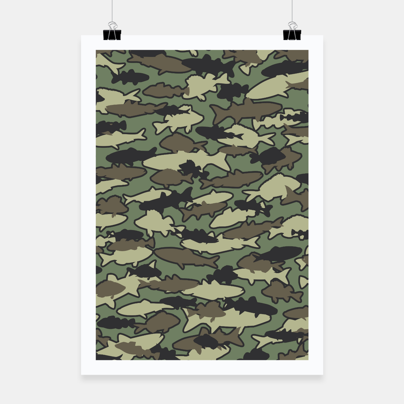 Image of Fish Camo JUNGLE Poster - Live Heroes