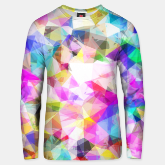 Miniatur geometric triangle pattern abstract background in pink blue yellow Unisex sweater, Live Heroes