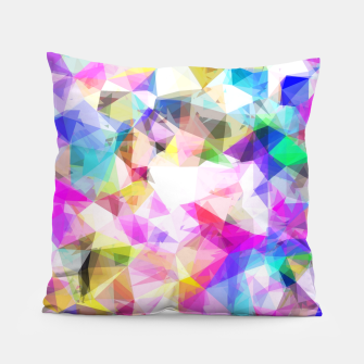 Thumbnail image of geometric triangle pattern abstract background in pink blue yellow Pillow, Live Heroes