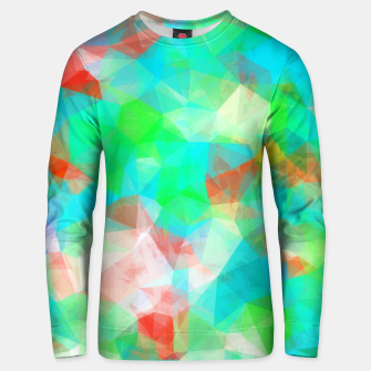 Miniatur geometric triangle pattern abstract background in blue green orange Unisex sweater, Live Heroes
